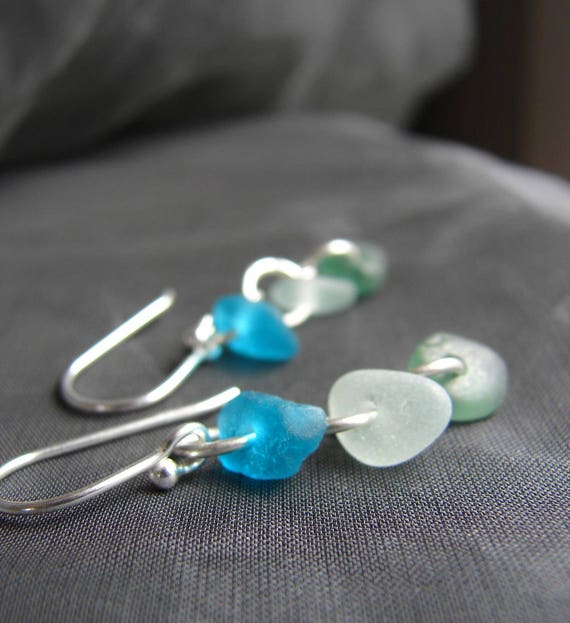 Crest sea glass earrings in bright teal, soft seafoam and olive green