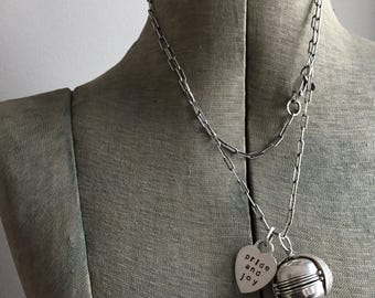 Sterling Silver Vintage Ball Locket Hart Tag Six Photos Mother Grandma Long Charm Necklace Portable Photo Album Smaller Size