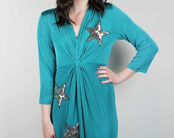 L Silver Sequin STAR Dress - Teal Silver Sequin Dress -  Sequin STAR dress - David Bowie Dress - DIY Silver Star dress - Vintage Large dress