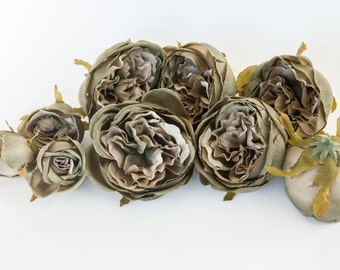 Set of 9 Small to Large Cabbage Roses in Two Tone Rustic Green - Silk Artificial Flowers -read description- ITEM 0984