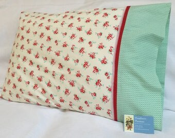 Summertime Roses in Cream, Pink, Red, & Light Teal - Standard Size Pillowcase - Lace Trim