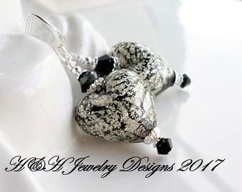 Black White Gold Murano Glass Heart Earrings, Black Venetian Glass Heart Earrings, Silver Black Heart Jewelry, Black Silver Jewelry, Hearts