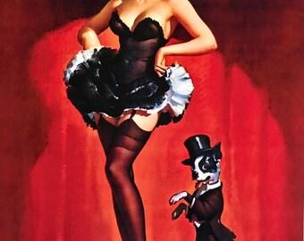 Lucky Dog SaLe! ELVGREN pinup showgirls BURLESQUE 8x11 Pin-Up Boston Terrier  lingerie stockings, Crinoline, nylons Giclee  PINUPS