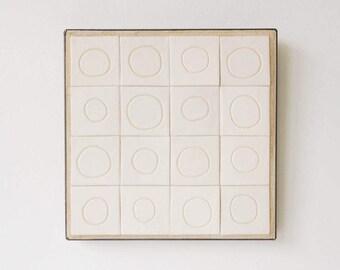 Tile Mural Art zen minimalism Ceramics and Pottery Mosaics Original Modern Art Home Decor Ceramic Circles Frame Alma Artisan Tina Schowalter