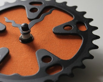 Bicycle Gear Clock - Burnt Orange  |  Bike Clock  | Wall Clock | Recycled Bike Parts Clock