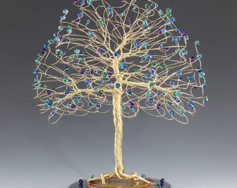 Tree Cake Topper with Swarovski Crystal Elements Peacock Capri Blue Emerald Blue Zircon Purple Velvet on Silver Gold or Copper Tone Wire