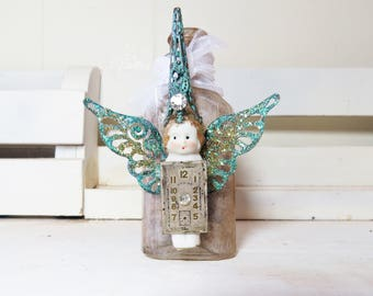 Winged Magic Fairy Bottle- Altered Bottle- Green Magic Fairy- Old Bottle, Penny Doll, Watch Face, Wings, Metal Pointed Hat