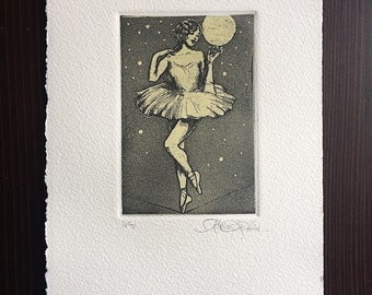 Fine Art Etching Print - High Wire - in Black & Pale Yellow