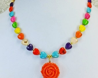 Orange 2 sided Rose on a Multi Colored Mangasite Stone Hearts Necklace