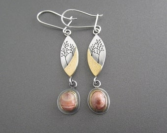 Handmade Woodland Dreamers Earrings with Yellow Gold, Sterling Silver, Thomsonite