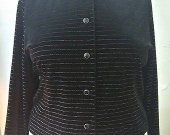 Size 24 Vintage Plus Size Black Gold Velvet Jacket
