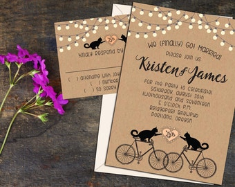 Cats On Bikes Rustic Whimsy Wedding Or Elopement Party Invitations RSVP Cards Post