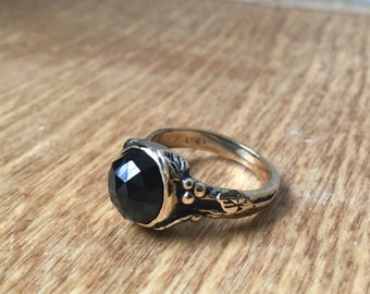 Black Onyx and Bronze Woodland Vine Ring