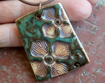 Rustic Flowers on Blue Green Porcelain Pendant