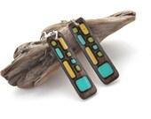 Modern Geometric Dangle Earrings, Long Lightweight Wood Earring, Everyday Earring, Statement Earring, Wood Burn, Epoxy Resin, Surgical Steel