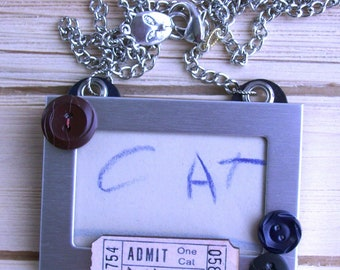 Vintage 1930's Coloring Book Art Necklace Cat Lady Feline Funky Fun Animal Jewelry Pet Necklace Novelty Original Artisan Upcycled Shabby