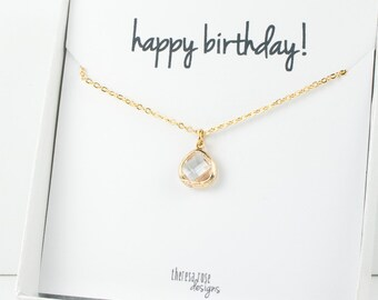 Tiny April Birthstone Gold Necklace, Crystal Gold Necklace, April Birthday Jewelry, Personalized Gold Necklace, Gifts Under 20