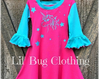 Pink Unicorn Glitter Pony Girl Dress, Rainbow Unicorn Pony Birthday GIrl Dress, Unicorn Girl Birthday Party Dress Outfit
