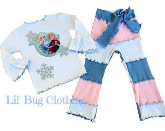 Frozen Anna Elsa Outfit, Frozen Snowflakes Girl Outfit, Anna Elsa Frozen Tee & Pant, Frozen Birthday Party