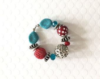 Chunky Bracelet, Red and Turquoise Beaded Bracelet, Statement Bracelet, Funky Bracelet, Fun Jewelry, Stretch Bracelet, Stacking Bracelet