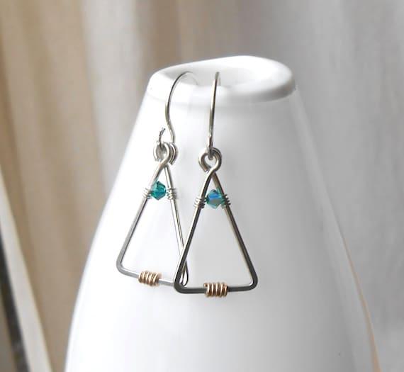 Christmas Tree Earrings, Sterling Silver Minimal Wire Earrings