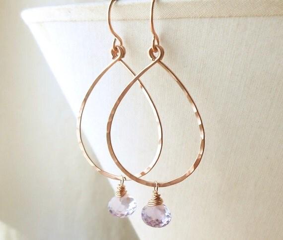 Rose Gold Hoop Earrings, Light Amethyst, Hammered Teardrop Rose Gold Filled Dangle Hoops