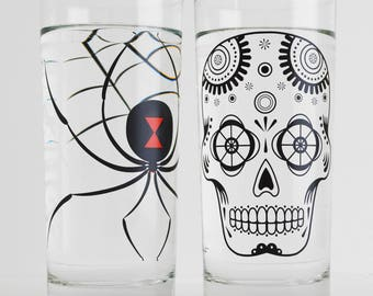 Halloween Glassware Set - Black Widow Spider and Sugar Skull Halloween Glasses - Set of 2 Halloween Party Glasses, Halloween Decor