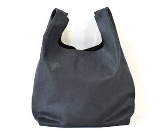 Bonnie - Handmade Charcoal Black Leather Shopper Carrier Bag SS17