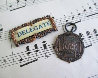 SALE Vintage USWV Medal and Delegate Badge Topper