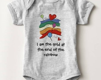 I am the Gold at the End of the Rainbow Baby Bodysuit Newborn Infant Boy Girl Shower Gift