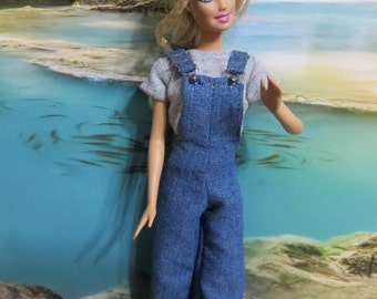 Barbie Clothes, Handmade Barbie clothes, Overalls, Cut Off Shorts, T shirt, Fringed purse, four items, Denim