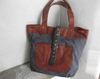 Tote Bag, Side bag, Grey Canvas Bag, Leather Canvas Bag, Travel Bag, Market Bag, Boho Bag, Leather Straps Bag, Summer Bag, Shoulder Bag