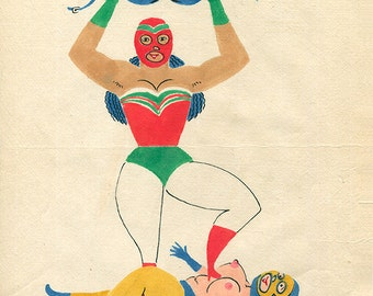 SALE Lucha Libre Mid Century Lesbian Mexican Wrestler Art Queer Felix d'Eon - Original Drawing
