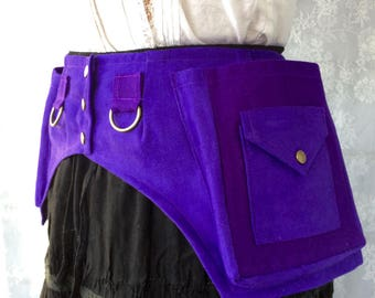 Desert festival utility belt - vivid purple high quality fabric pocket belt - festival fanny pack belt - festival pockets - Extra Small