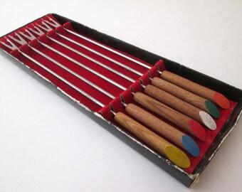 Vintage Fondue Fork, Stainless Steel flatware, Fork Set, fondue set original box, wood handle fork, appetizer fork, cheese fork, colored end