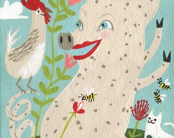 Rooster with Pig Art Print - Whimsical Outsider Folk Chick Bees White Cat Spotted Swine Spring Farm Artwork Decor Illustration