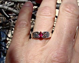 70% OFF Going Out of Business Sale.. Sterling Silver filigree ring with Marquise Ruby- Size 6.75