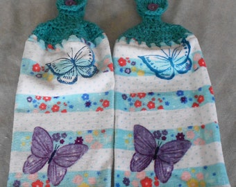 Crocheted Handle Top Butterfly Towel - Butterfly Crochet Top Towel - Butterfly Granny Towel - Kitchen Hand Towel - Butterfly Hanging Towel
