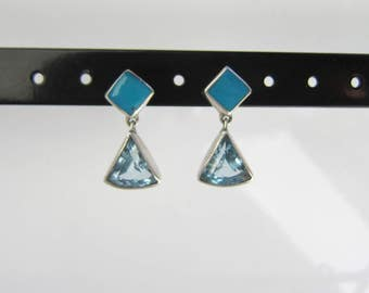 Londonn Sterling Silver Dangle Earrings with turquoise and Faceted Blue Topaz      1391D