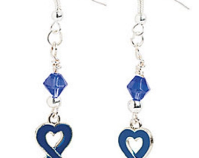 Heart-Shaped Blue Ribbon Earrings