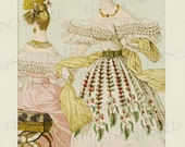 Elegance Historical French Fashion Series 1832 Ruffles and Lace Antique French Postcard Digital Scan