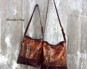Leather Shoulder Bag in Woodland Leather with Embossed Ferns by Stacy Leigh