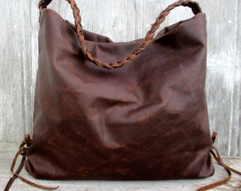 Antiqued Leather Hobo Bag by Stacy Leigh in Chocolate Brown Leather