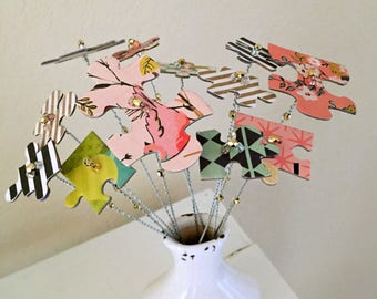 Puzzle piece modern repurposed paper, bead Spring flower bouquet, fake faux flower stems, floral arrangement, whimsical flowers - 12 stems