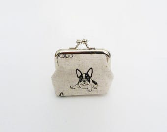 Coin purse, Boston Terrier fabric, black and beige French Bulldog fabric, cotton purse
