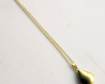 Simple Gold Locket, Teardrop locket, small locket, modern locket, graduation gift, brass locket, gift for her
