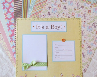 BABY BOY SCRAPBOOK premade pages -- 12x12 FiRsT YeAr ALbUm --  20 layouts, WeLCoMe to the WoRLd, baby memory book, animals, shower gift
