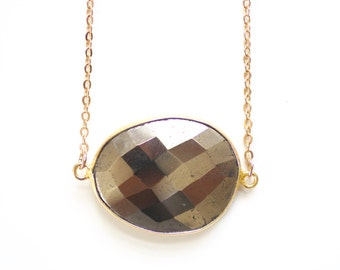 Faceted Pyrite Gold Vermeil Bezel Stone Necklace - Gold Plated or 14k Gold Filled Chain