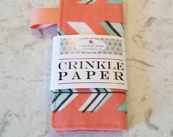 Crinkle Paper, Noise Making Toy for Babies, gender neutral, Arrows, by Kaity-Bug Designs