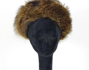 Adolfo II 1960's Vintage Women's Mod Brown Genuine Fur Designer Winter Hat